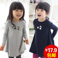 2013 autumn children's clothing female child baby cherry long-sleeve autumn one-piece dress 0252