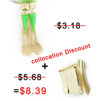 Fashion New 2013 Gold Color Long Tassels Stud Earrings and Cuff Bangles Jewelry Sets