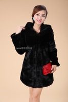 winter women's fur mink hair medium-long with a hood overcoat fur coat     PH0225