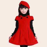1pcs=Dress+Hat 2014 Autumn Winter Children's Clothing One-piece Dress Girls Short-sleeve Woolen Dress Bady Princess Dresses
