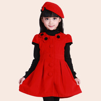 Giving Hat-2013 autumn and winter Children's clothing one-piece dress girls short-sleeve woolen dress bady princess dress
