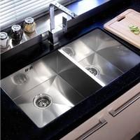 LS212  304grade stainless steel Double bowl UNDERMOUNT Kitchen Sink