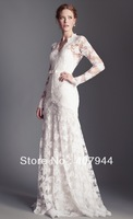 Free shipping new arrival Whie Vintage lace A-line Floor length see Through Sheer Long sleeves Wedding Dresses Custom Made