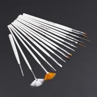 15Pcs Nail Art Polish Painting Draw Pen Brush Tips Tools Set UV Gel Cosmetic  Wholesale White