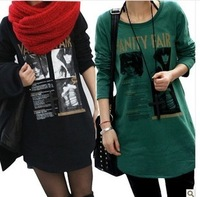 2013 autumn loose mm plus size clothing o-neck long design basic shirt long-sleeve t-shirt female