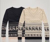 2013 Free shipping autumn winter V-neck men pullover knitted sweater Korean Knitting sweaters deer printing design