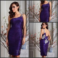 2013 Style One Shoulder Beaded Pleat Ravishingly Short Prom Dress With Bow