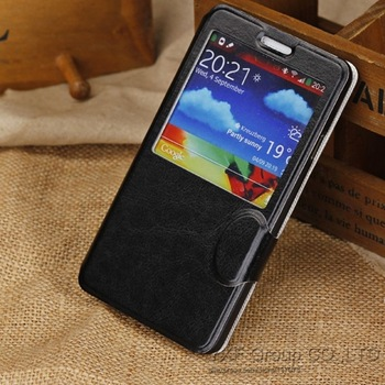 Newest 50pcs/lot Crazy Horse Lines PU Leather Cases View window for Samsung Galaxy Note 3 III N9000 Stand Cover Smart Phone Bag