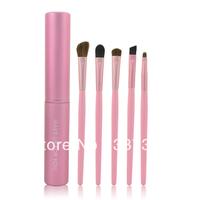 Wholesale Beauty 5 pcs Makeup Eyes Brushes Set Cosmetic Make Up Eyeshadow Brush Animal Hair Brand Brush kit with Cylinder Case