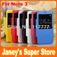 50 pcs/lot DHL Fashion Ultra Leather case for Samsung Galaxy Note iii 3 N9000 View Automatic Stand case with Screen Protector
