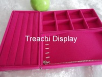 Free Shipping,Wholesale 3pcs Tray Kit Rings Earrings Compartment Chain Necklace Display Show Case Organizer Box