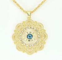 Trendy New Design Rhinestone Flower Shape Turkey Evil Eye Pendant 18K Gold Plated Women Necklace Good Luck Jewelry