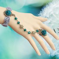 Lolita rose flower crystal handcuff bracelets fashion lace jewelry on sale bride wedding bracelets B112
