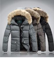 free ship/2014 Winter New fashion men's down coats/best quality mens winter coat/men's down jacket  woolen collar S M L XL XXL