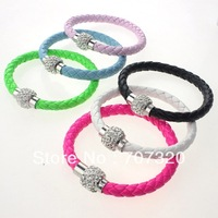 Xmas gift magnetic shamballa clasp PU leather Bracelet  factory Wholesale Bs7155A