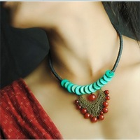 Hot-selling Quality Multielement Agate Turquoise  Wax Cord Knitted Short Design Multielement Pendant Necklace Vintage Jewelry