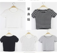 New 2013 items 4 Color British homies Long Sleeve Crop Top for women Sexy Short blank T shirts Blouses garmet wholesale