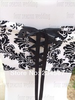 Free Shipping 20pcs White and Black flocking taffeta chair cover sash also call elegance damask corset chair sash