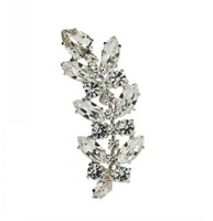 Silver Crystal Leaves Ear Cuff Clip Cartilage Stud Earrings for Women