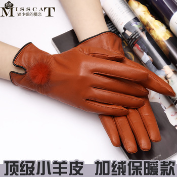 Genuine leather gloves women's autumn and winter thin plus velvet thermal sheepskin gloves mink hair gloves