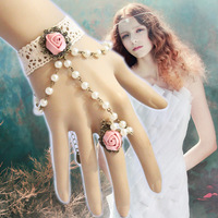 Free Shipping 6pc/lot promotion gothic lolita jewelry vintage retro European style pearl lace bracelet with ring sets MTB117