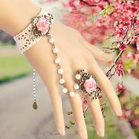 Promotion gothic lolita lace bracelets vintage wedding bridal bridesmaid hand bangle retro pearl lace bracelet set  B119