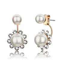 Earrings female inlaying zirconium diamond pearl earrings fashion personality