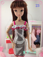 FREE SHIPPING Silver fashion party dress Clothes for barbie Doll - item no.23*30