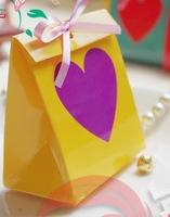 Free ship fashion design candy box, wedding paper candy box , 6 colors , 8 cm * 5cm * 9 cm(small one ),50 pcs /lot