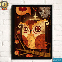 Owl decorative painting small fresh brief box art paintings entranceway mural