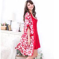 Core faux silk spaghetti strap sexy leugth nightgown twinset robe female lounge set