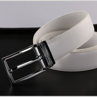 Men's fashion pin buckle white color genuine leather belt pk64