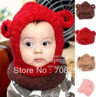 6pcs- Baby Boys Girls Flannel Cute Bear Pattern hat ans neck warmer KIds Children Winter Warm Hat Scarf 2 Pieces Set 529