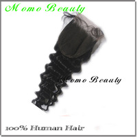 Jet Black Indian Virgin Human Hair Closure Free Part Lace Top Closure Bleached Knots Curly Style Hand Tied
