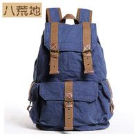 color block bucket backpack male bag canvas bag big backpack bag camel 2352