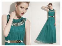 Fashion Keyhole Sleeveless Summer Chiffon Maxi Party Ball Gown Evening Long Dress Women