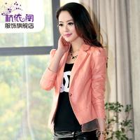 2013 autumn slim long-sleeve women's blazer spring and autumn PU clothing female short jacket
