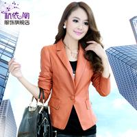 2013 autumn slim long-sleeve PU blazer outerwear short design women's PU clothing female