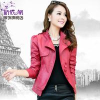 2013 autumn women's motorcycle stand collar PU clothing female short design slim outerwear jacket
