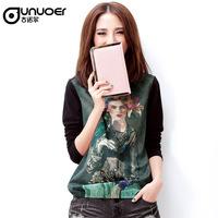 2013 autumn formal women's print o-neck long-sleeve t-shirt sweep elastic