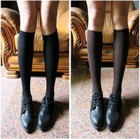 10 double black knee-high socks rearfoot long socks all-match school uniform socks
