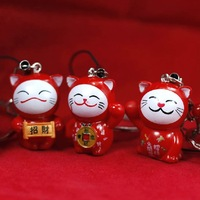 Free Shipping    Fashion Jewelry  Lucky Cat Key chain Mobile booming festive child doll key pendant