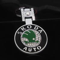 Skoda octavia quality car double faced keychain car key chain with diamond circle