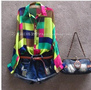 free shipping tops 2014 fashion women clothing blouses for women loose plus size embroidered shirt women handbag chiffon shirt(China (Mainland))