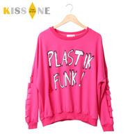 Plastik yubsshop funk print hole sleeves bf loose sweatshirt