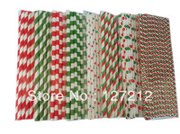 CHRISTMAS SET RED AND GREEN Paper Straws 2000pcs/lot (25PCS/PACK) 8 Colours Mix