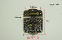 Home decoration hardware button wholesale alloy buckles rich antique box wooden box button clasp tea box vase