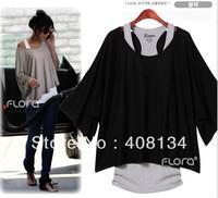 free shipping Fashion Leisure Loose Casual Short Sleeve T-Shirts Women's Bat Vest four color plus size
