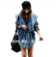 DHL UPS Free shipping 10pcs/lot 2013 Newest  High Quality Women's cool Denim Coat Hoodie Coat Hooded Outerwear Jeans Jacket