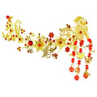 Rainbow rhinestone bride rich red costume hair maker hair accessory tassel child the wedding hair accessory